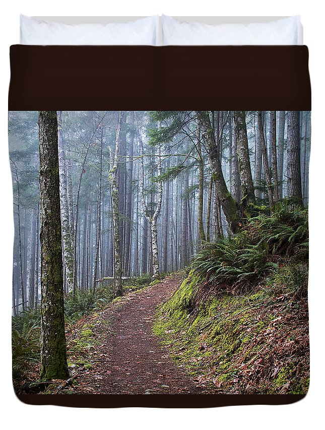 Fog Duvet Cover featuring the photograph Foggy Morning In The Forest by Peggy Collins