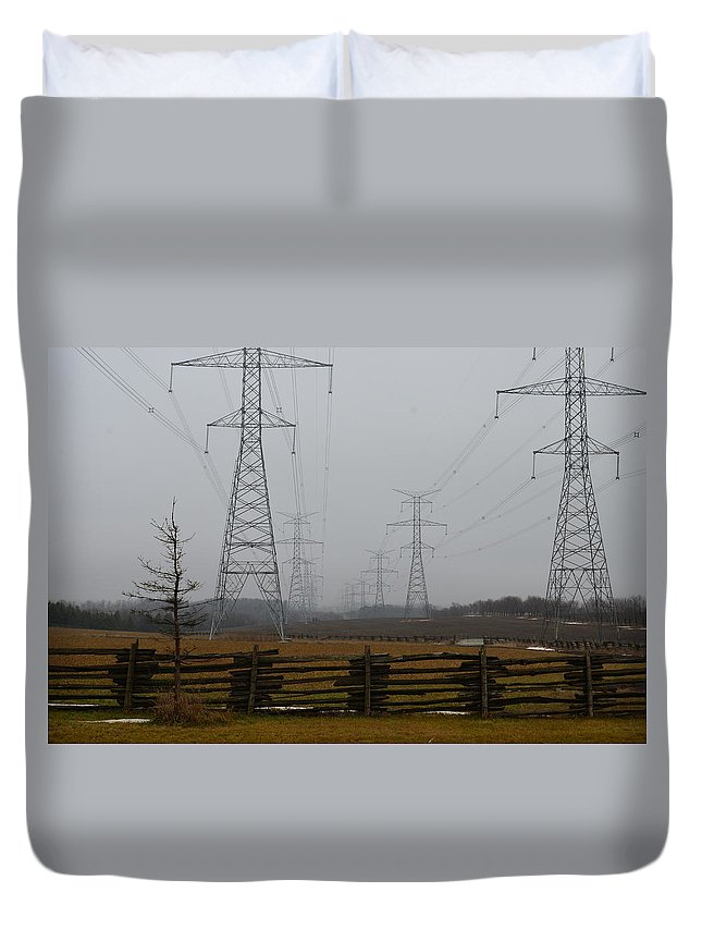 Wires Duvet Cover featuring the photograph Foggy Morning by Katherine Townsend