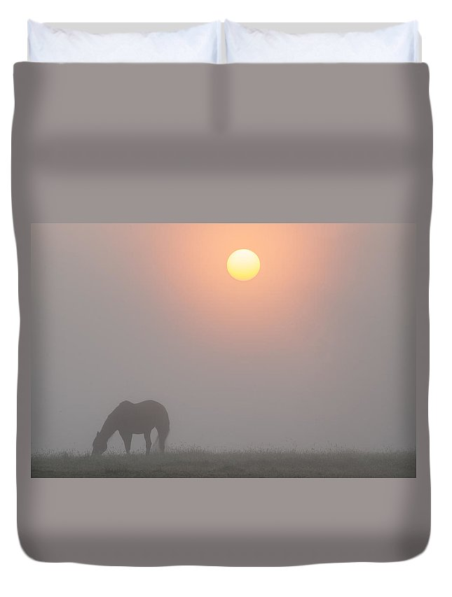Foggy Duvet Cover featuring the photograph Foggy Morning Sunrise by Bill Cannon