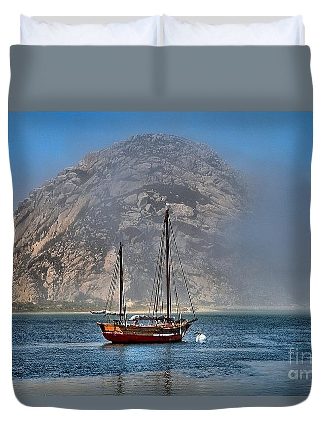 Morro Rock Duvet Cover featuring the photograph Foggy Morrow Bay by Adam Jewell
