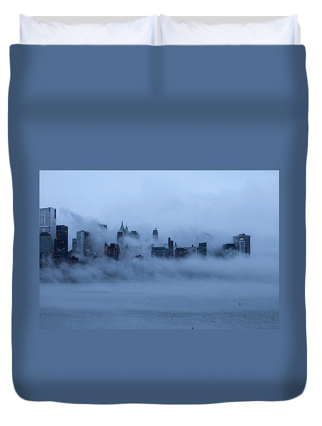 Dawn Duvet Cover featuring the photograph Foggy New York City by Laverrue Was Here