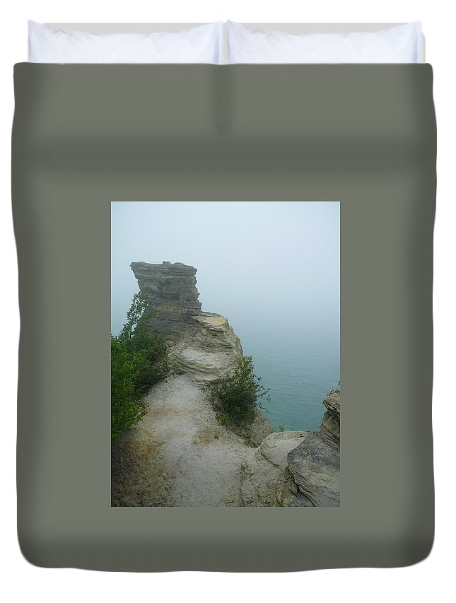 Upper Peninsula Duvet Cover featuring the photograph Foggy Overlook by Two Bridges North