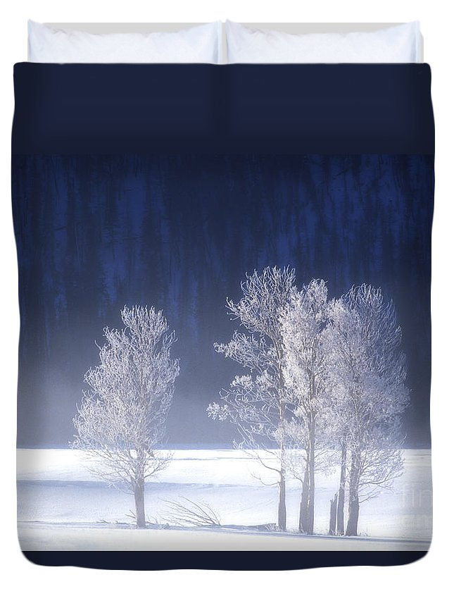 North America Duvet Cover featuring the photograph Foggy Sunrise In Yellowstone National Park by Dave Welling