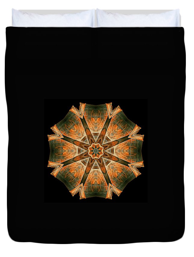 Fractal Duvet Cover featuring the digital art Folded 8-pointed Kaleidoscope Image by Richard Ortolano