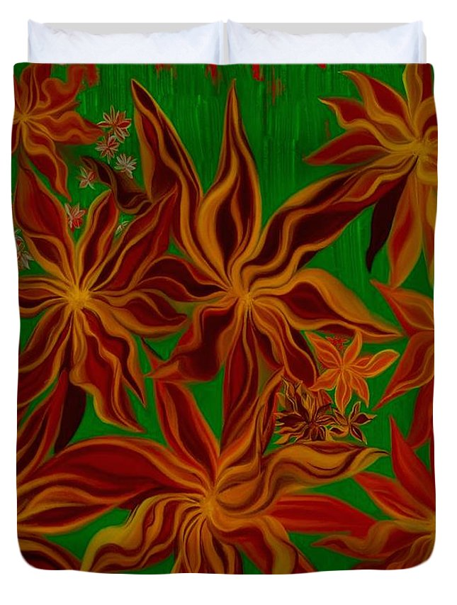 Digital Paintings Duvet Cover featuring the painting Folding In Harmony by Jodi Eaton