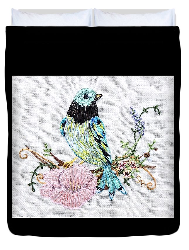 Embroidery Duvet Cover featuring the tapestry - textile Folk Art Bird Embroidery Illustration by Stephanie Callsen