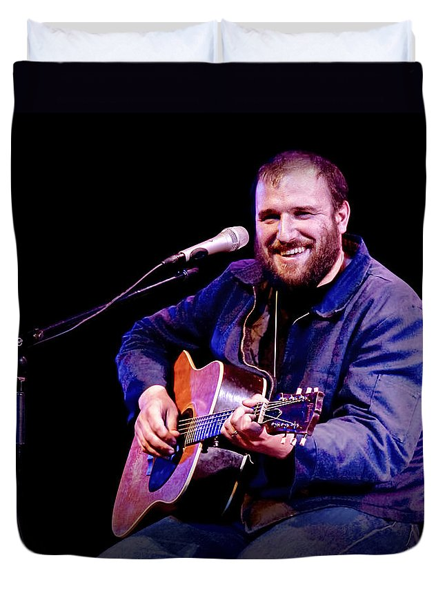 Art Duvet Cover featuring the photograph Folk Musician David Bazan In Concert by Randall Nyhof