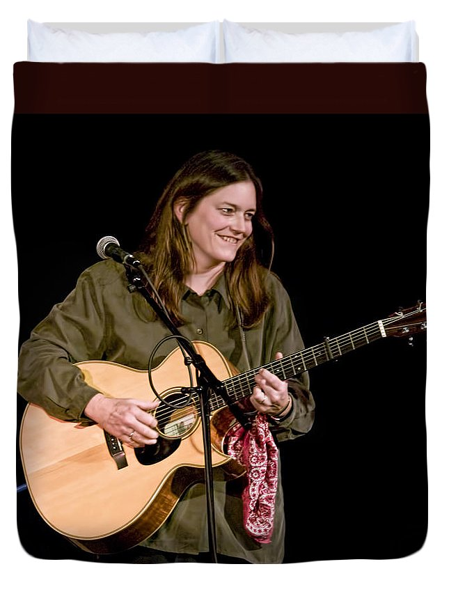 Art Duvet Cover featuring the photograph Folk Musician Denise Franke by Randall Nyhof