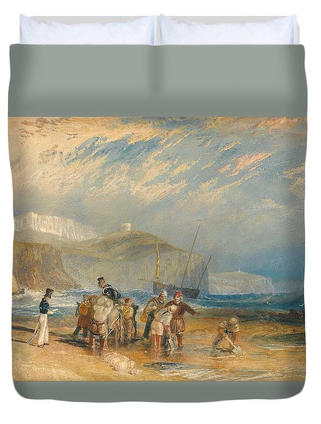 1829 Duvet Cover featuring the painting Folkestone Harbour And Coast To Dover by JMW Turner