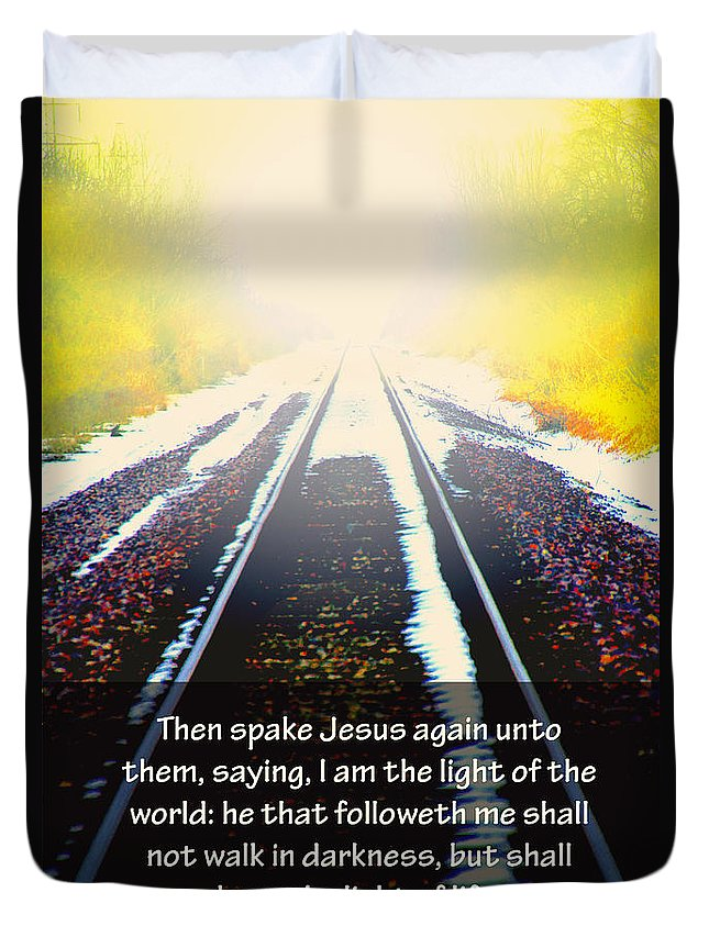 Train Tracks Duvet Cover featuring the photograph Follow The Light by Debbie Nobile