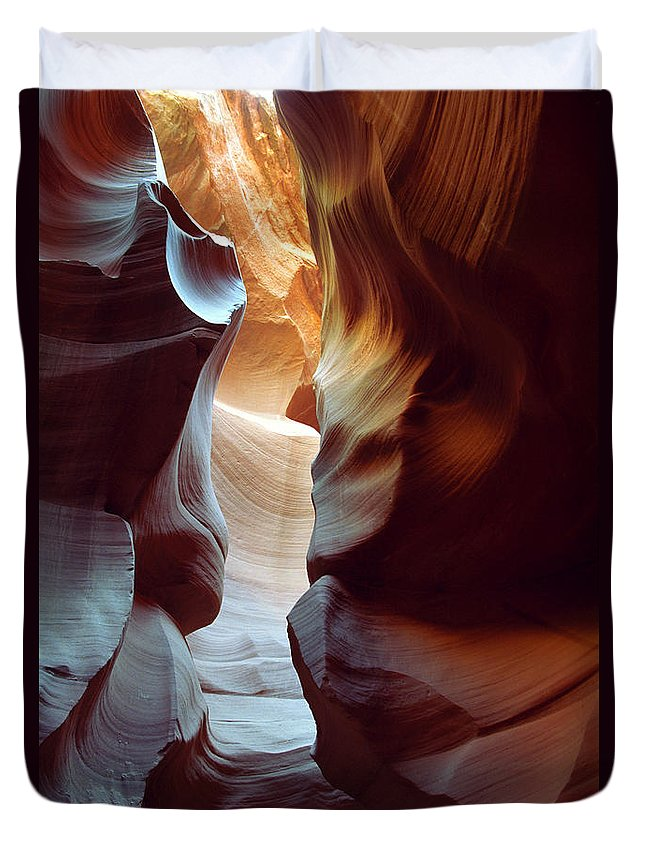Slot Canyon Duvet Cover featuring the photograph Follow The Light II by Kathy McClure