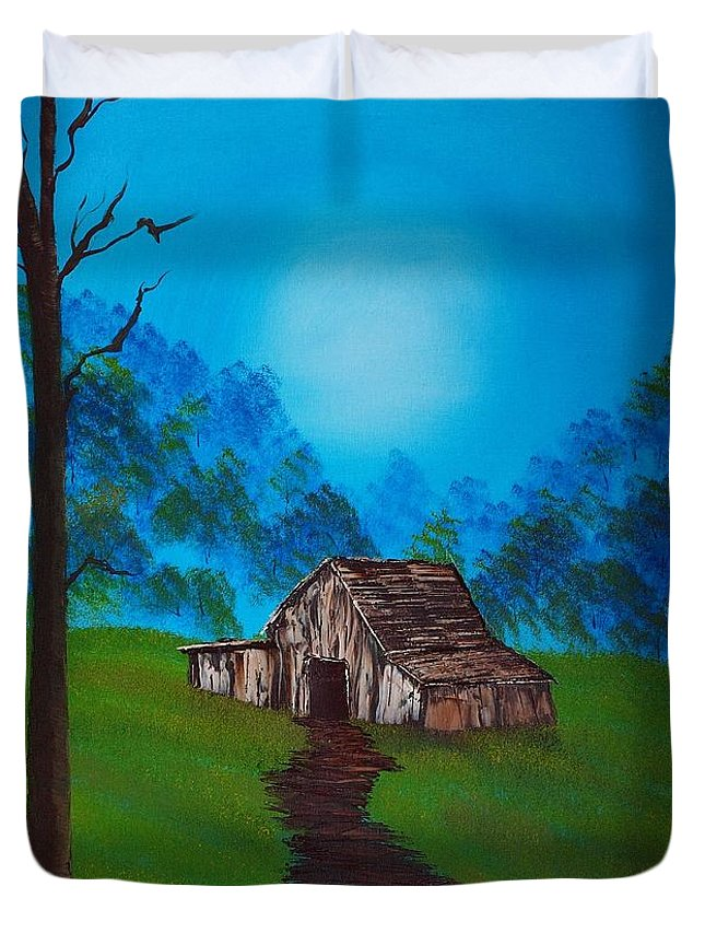 Sky Duvet Cover featuring the painting Follow The Path by Nature's Effects - Heather Seward