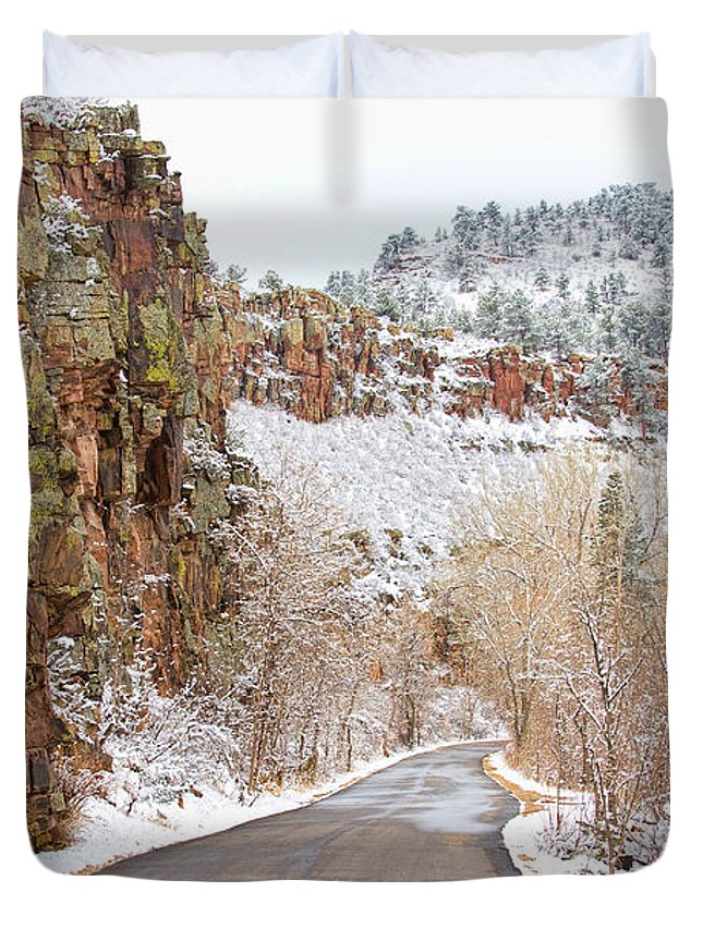 Road Duvet Cover featuring the photograph Follow The Red Rock Ridge Winter Road by James BO Insogna