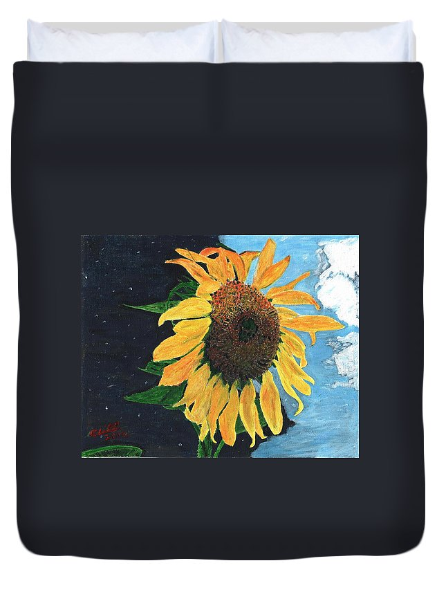 Yellow Duvet Cover featuring the painting Follow The Sun by Cliff Wilson