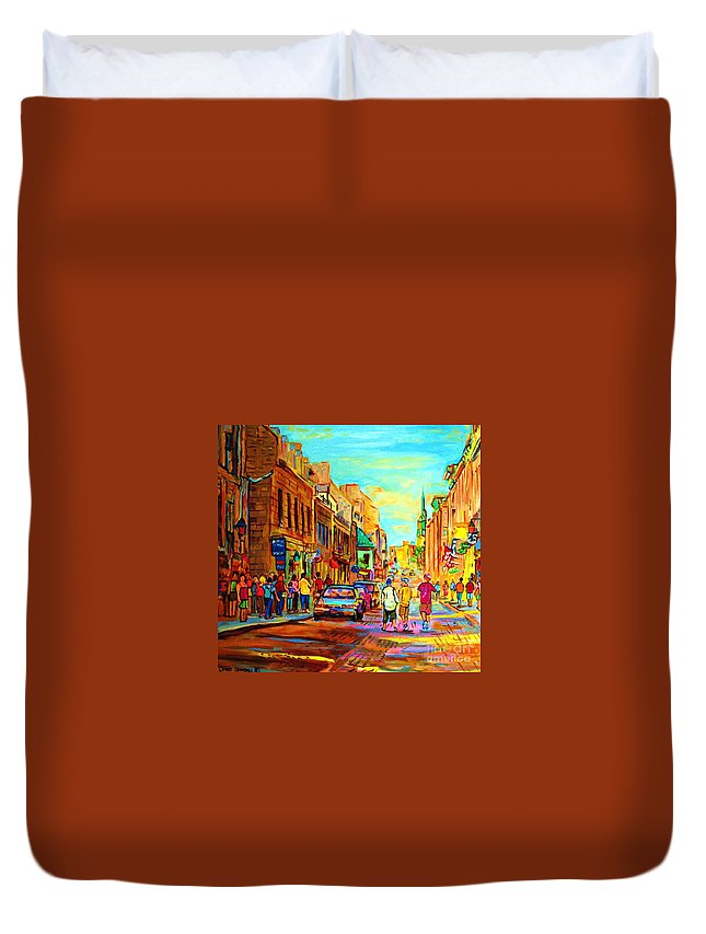 Montreal Duvet Cover featuring the painting Follow The Yellow Brick Road by Carole Spandau