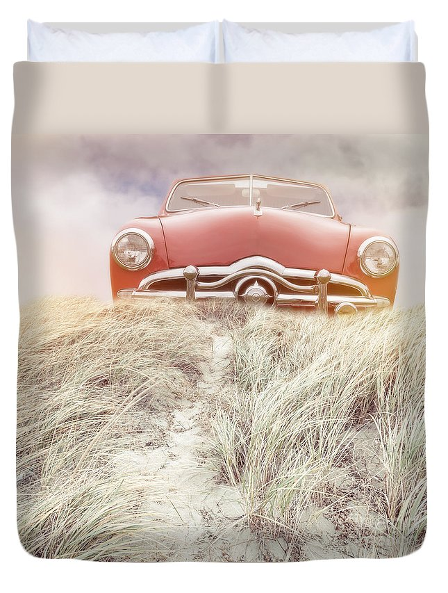 Red Duvet Cover featuring the photograph Follow Your Dreams Square by Edward Fielding