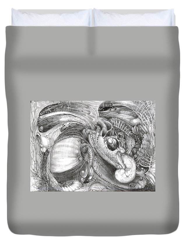 Fomorii Duvet Cover featuring the drawing Fomorii Aliens by Otto Rapp