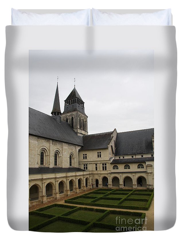 Cloister Duvet Cover featuring the photograph Fontevraud Abbey Courtyard - France by Christiane Schulze Art And Photography