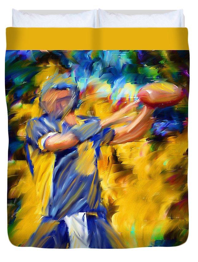 Quarterback Duvet Cover featuring the digital art Football I by Lourry Legarde