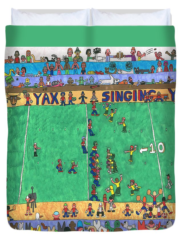 Sports Duvet Cover featuring the drawing Football by Paul Fields