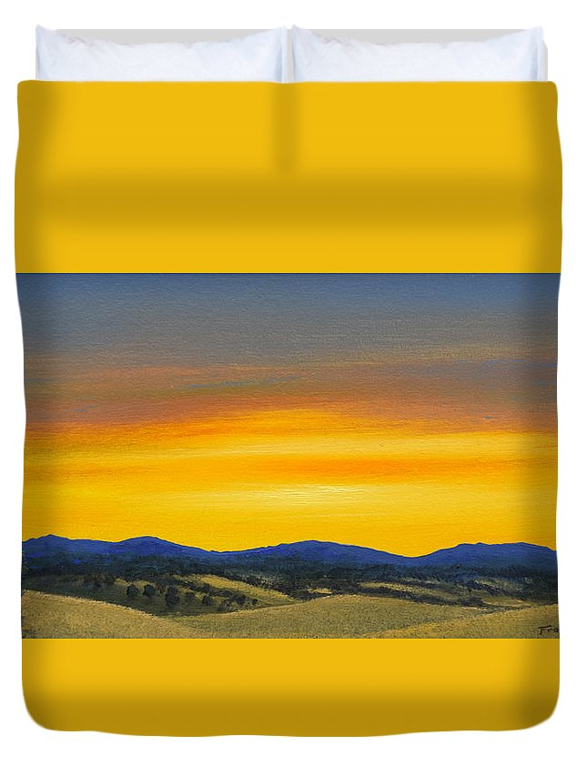 Sunrise Duvet Cover featuring the painting Foothills Sunrise by Frank Wilson