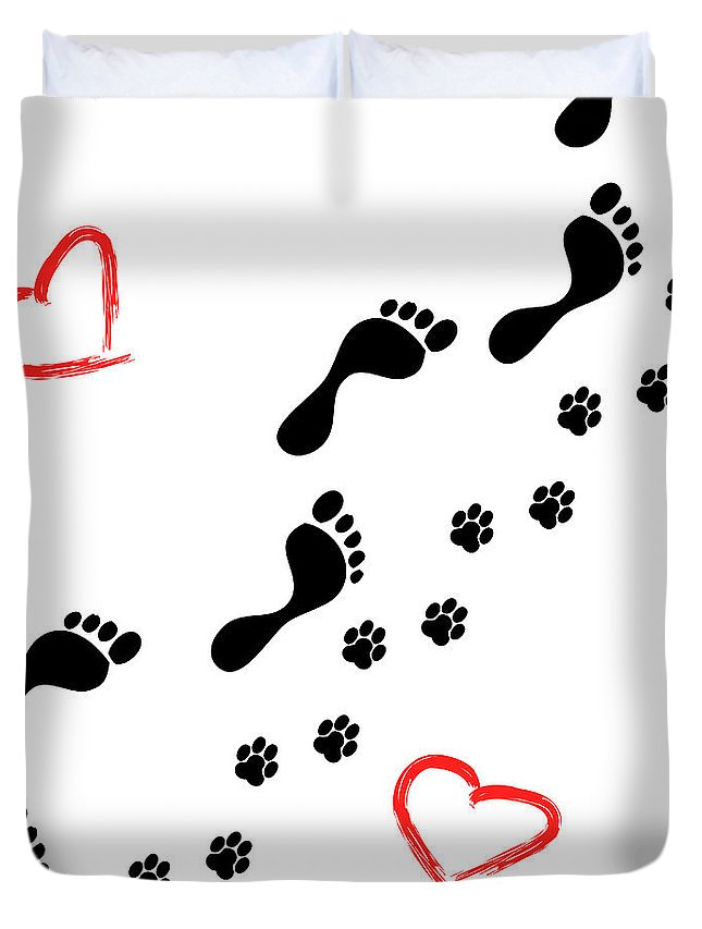 Walking Duvet Cover featuring the photograph Sleep Walking The Dog by Diana Hughes