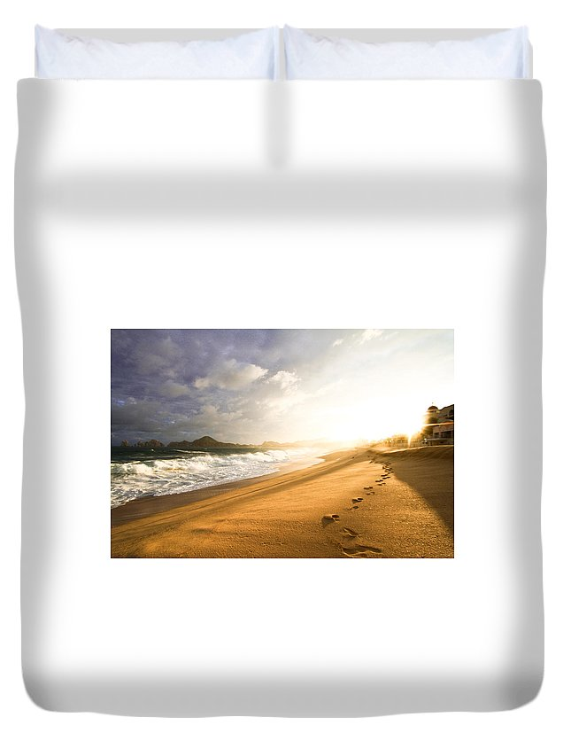 Steps Duvet Cover featuring the photograph Footsteps In The Sand by Eti Reid