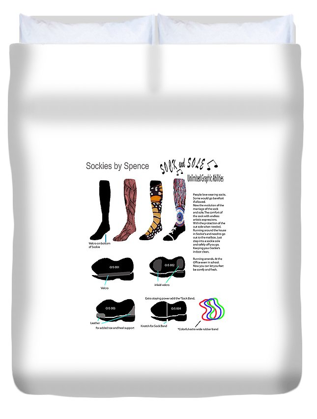 Duvet Cover featuring the drawing Footwear by Keith Spence