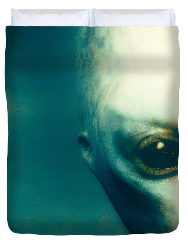 Alien Abduction Duvet Cover featuring the digital art For Betty And Barney Hill by Bob Orsillo