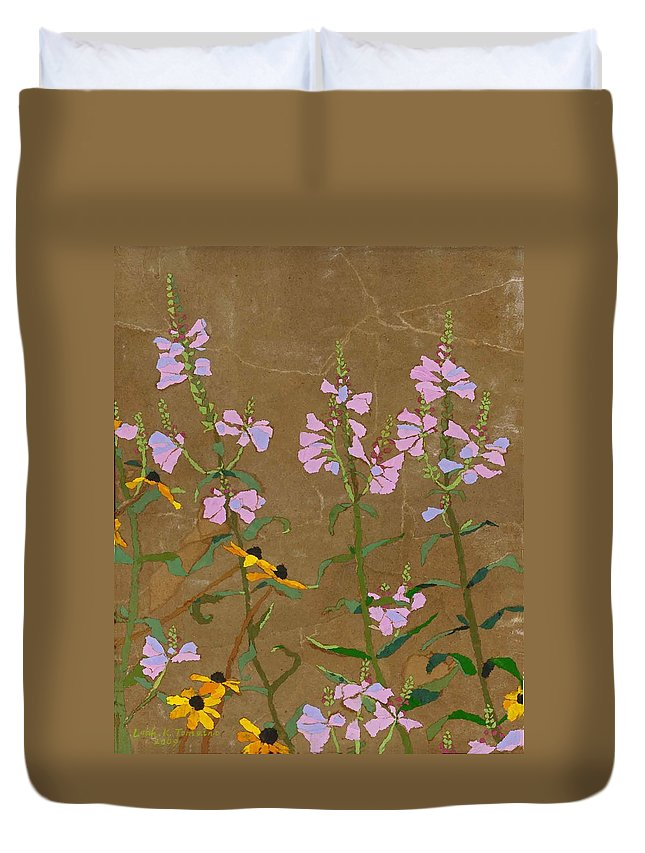 Floral Duvet Cover featuring the painting For Jack From Woodstock by Leah Tomaino