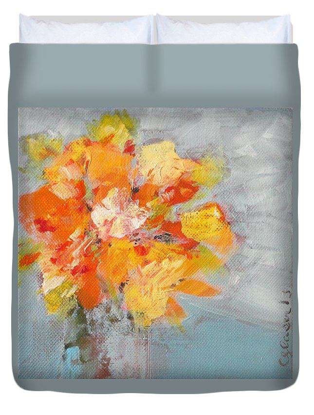 Floral Duvet Cover featuring the painting For Kind Karin by Christina Glaser