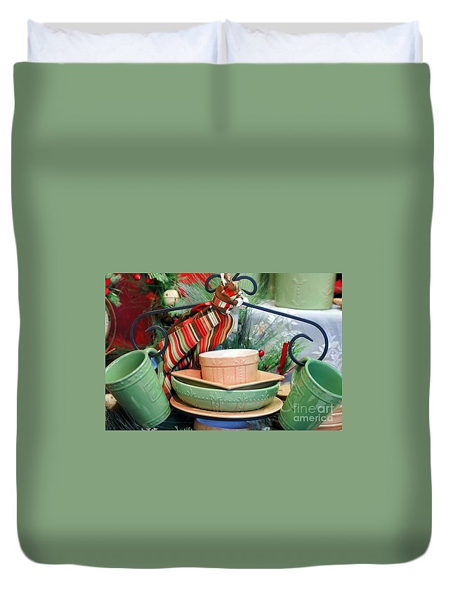 Green Duvet Cover featuring the photograph For The Kitchen by Kathleen Struckle