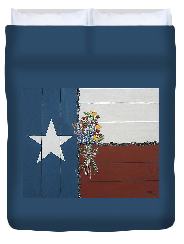 Texas Duvet Cover featuring the painting For The Love Of Texas by Suzanne Theis