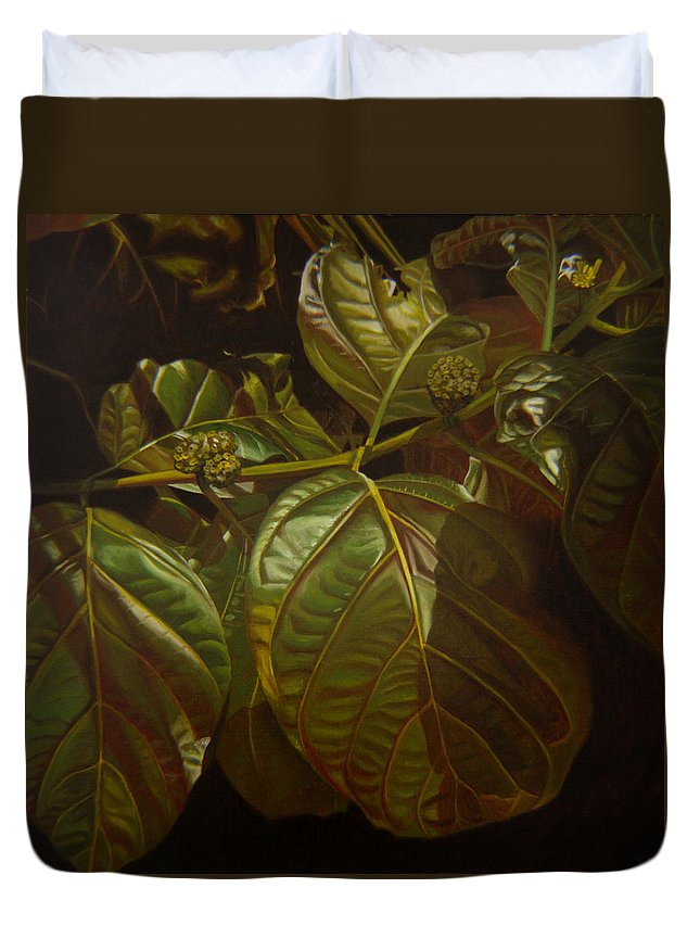 Tropical Plants Duvet Cover featuring the painting Forbidden Fruits by Thu Nguyen