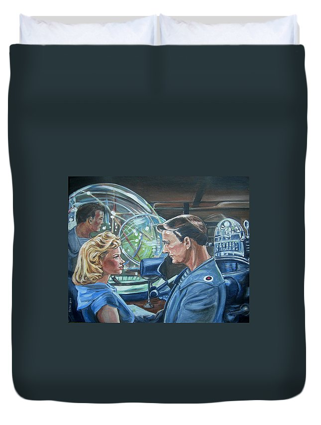 Forbidden Planet Duvet Cover featuring the painting Forbidden Planet by Bryan Bustard