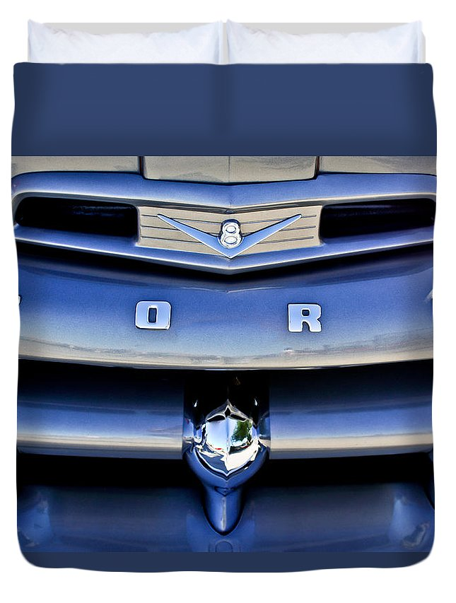 Ford F-1 V8 Truck Duvet Cover featuring the photograph Ford F-1 V8 Truck Front End by Jill Reger