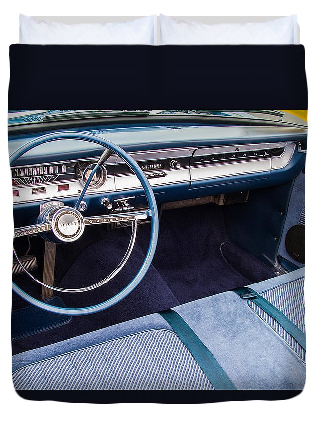 Ford Falcon Futura Convertible Interior Duvet Cover featuring the photograph Ford Falcon Futura Interior by Roger Mullenhour