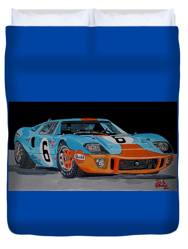 Ford Gt40 Duvet Cover featuring the painting Ford Gt40 by Jose Mendez