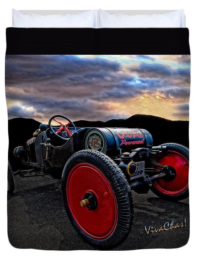 Ford Duvet Cover featuring the photograph Ford Model T Racer Beat The Storm Home by Chas Sinklier
