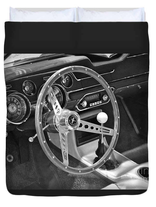 Ford Duvet Cover featuring the photograph Ford Mustang Shelby In Black And White by Pamela Walrath
