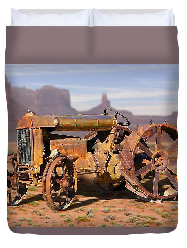 Fordson Tractor Duvet Cover featuring the photograph Fordson Tractor by Mike McGlothlen