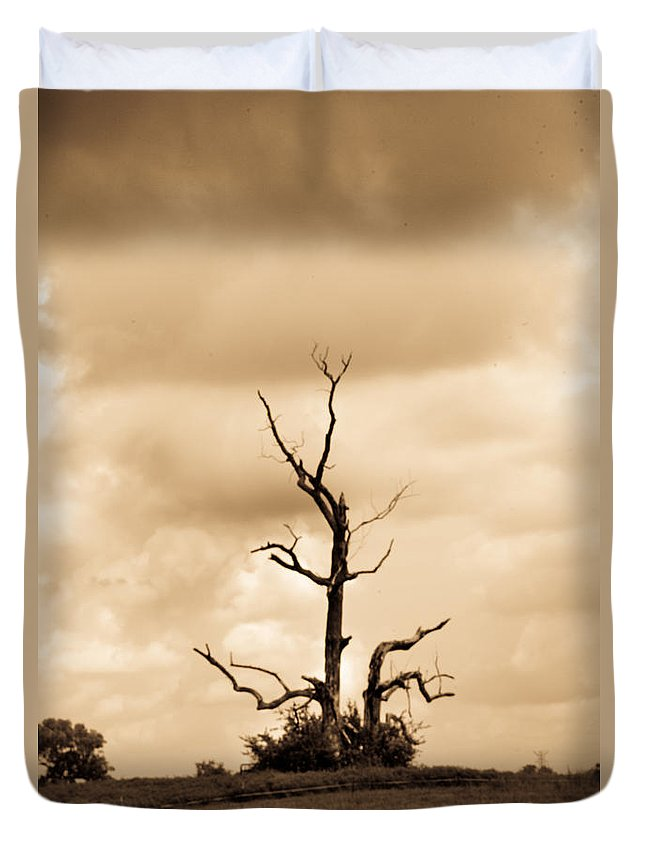 Foreboding Duvet Cover featuring the photograph Foreboding Clouds Over Ghost Tree 1 by Douglas Barnett