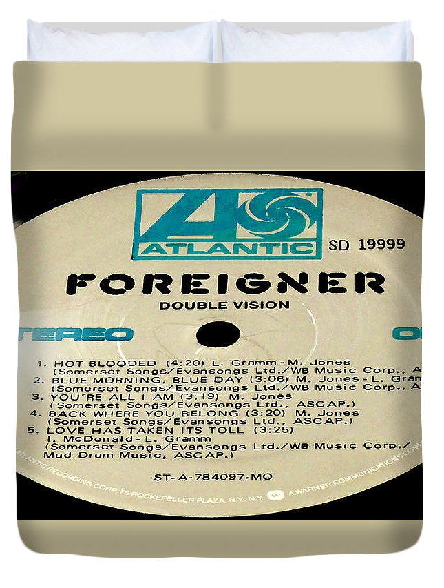 Records Duvet Cover featuring the photograph Foreigner Double Vision Side 1 by Marcello Cicchini