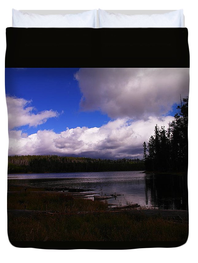 Rivers Duvet Cover featuring the photograph Forest And Clouds by Jeff Swan