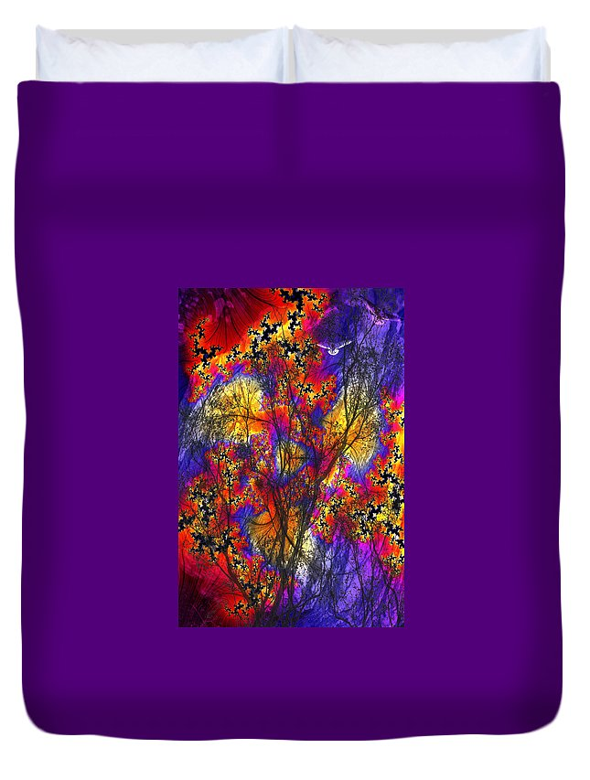 Forest Fire Duvet Cover featuring the digital art Forest Fire by Lisa Yount