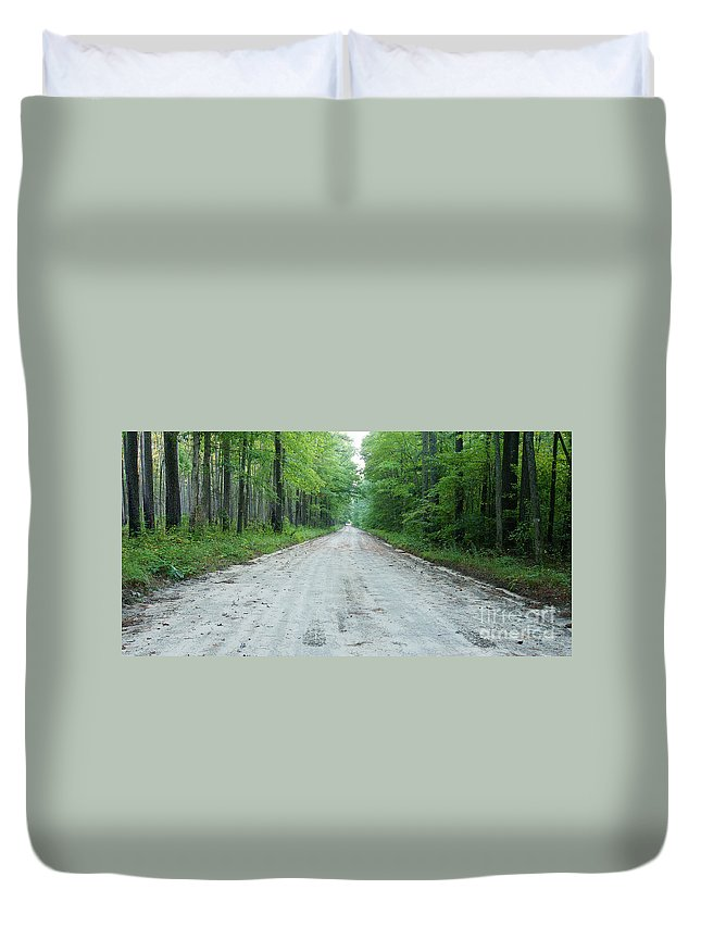 Road Duvet Cover featuring the photograph Forest Lane by Benjamin Reed