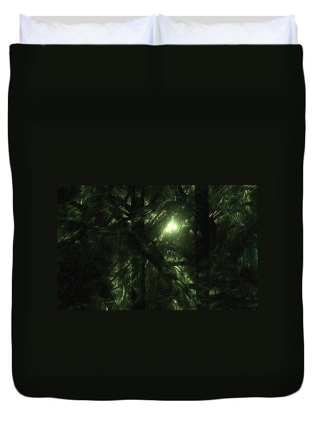 Fractal. Forest Duvet Cover featuring the digital art Forest Light by GJ Blackman