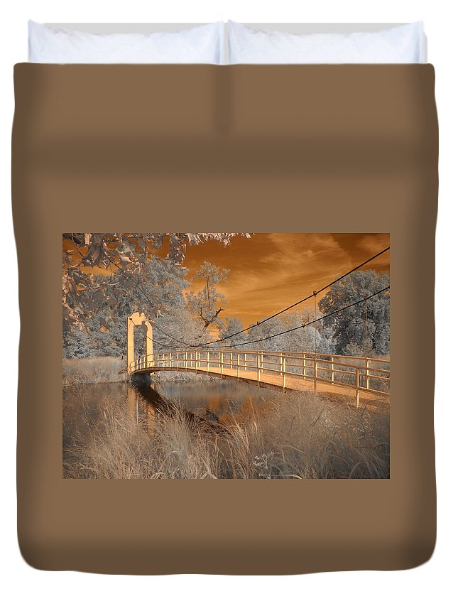 Forest Park Duvet Cover featuring the photograph Forest Park Bridge Infrared by Jane Linders