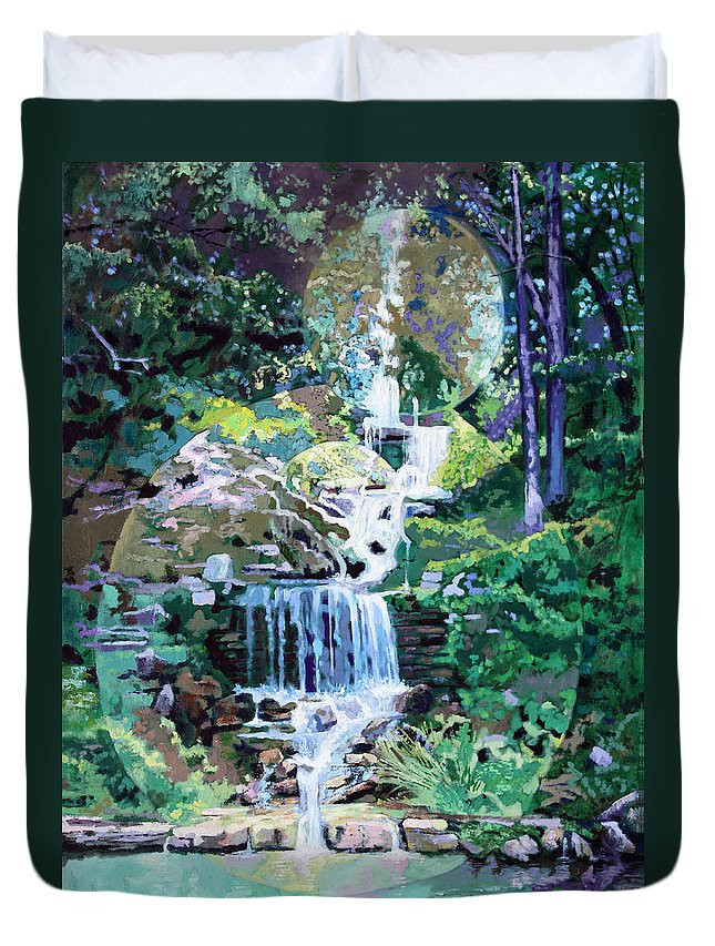 Waterfall Duvet Cover featuring the painting Forest Park Waterfall by John Lautermilch