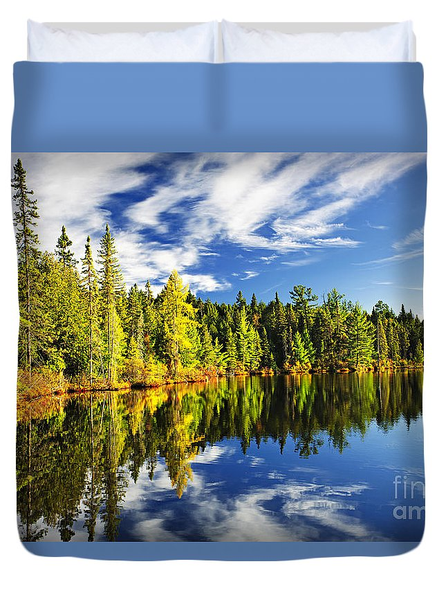 Lake Duvet Cover featuring the photograph Forest Reflecting In Lake by Elena Elisseeva